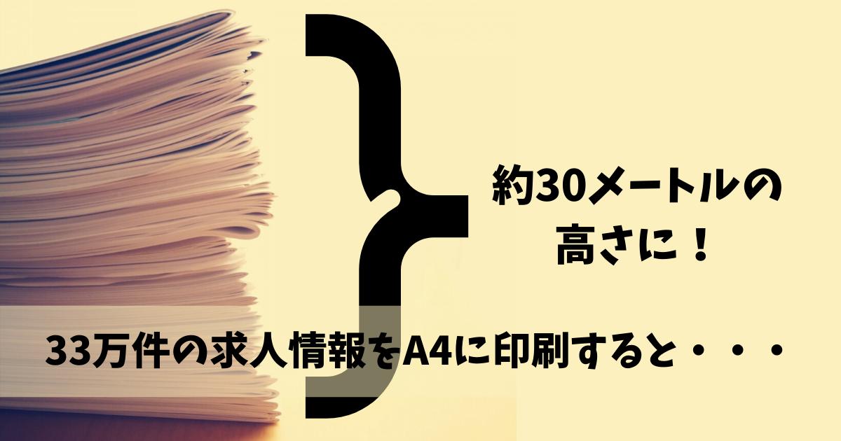 33万件の求人情報を印刷した高さは約30メートル