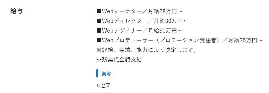 Webディレクターの求人票