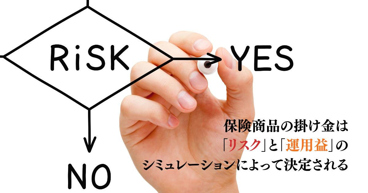 保険商品の掛け金は「リスク」と「運用益」のシミュレーションによって決定される